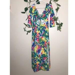 XL feather print Sexy Long Maxi Dress